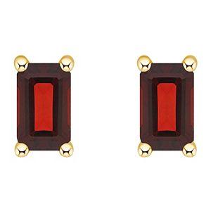 14k Gold Emerald Cut Birthstone Stud Earrings