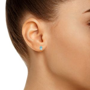 14k Gold Oval Birthstone Stud Earrings