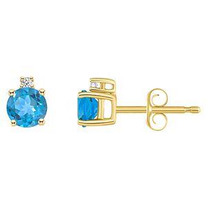 14k Gold 4 mm Round White Topaz & 1/10 Carat T.W. Diamond Stud Earrings