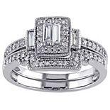 Stella Grace 10k White Gold 3/8 Carat T.W. Diamond Vintage Engagement Ring Set