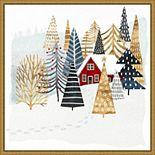 Amanti Art Christmas Chalet I Tree Framed Canvas Wall Art