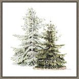 Amanti Art Vintage Wooded Holiday Trees in Snow Framed Canvas Wall Art