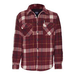 Men's Smith's Workwear Plaid Sherpa-Lined Microfleece Shirt Jacket