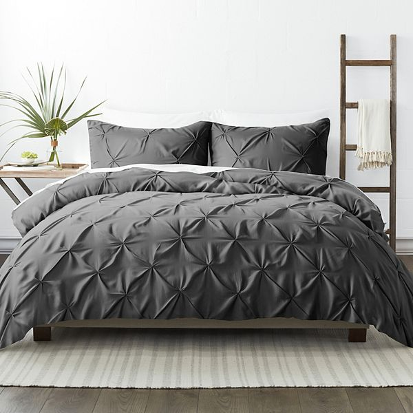 Gray 3 Piece Pinch Pleat Duvet Cover Set, Twin/Twin Extra Long, by Noble Linens