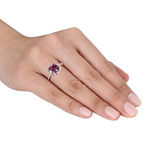 Stella Grace 10k Rose Gold Amethyst & 1/10 Carat T.W. Diamond Halo Ring