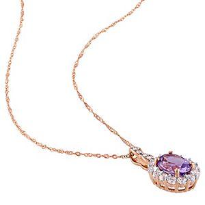 Stella Grace 14k Rose Gold Amethyst, White Topaz & Diamond Accent Vintage Pendant Necklace