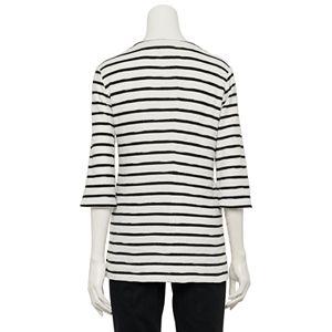 Women's Croft & Barrow 3/4-Length Sleeve Textured Stripe Tunic Top