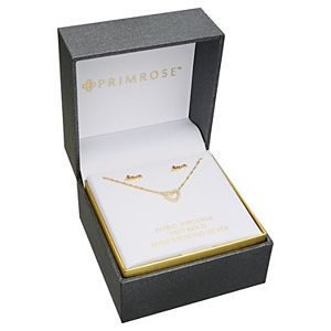 """PRIMROSE 18k Gold Plated Sterling Silver """"Love"""" Stud Earrings & Pave Cubic Zirconia Open Heart Pendant Necklace Set"""
