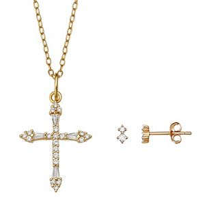 PRIMROSE 18k Gold Plated Sterling Silver Cubic Zirconia Double Stud Earrings & Pave Cross Pendant Necklace Set