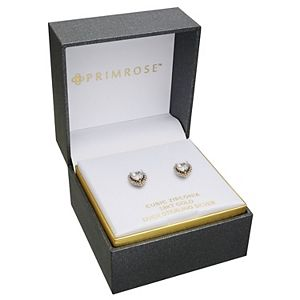 PRIMROSE Sterling Silver & 18k Gold Plated Pave Cubic Zirconia Heart Stud Earrings