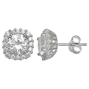 PRIMROSE Sterling Silver Cubic Zirconia Rounded Square Stud Earrings