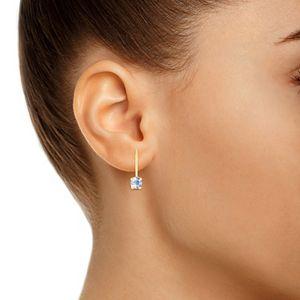 14k Gold Gemstone Leverback Earrings