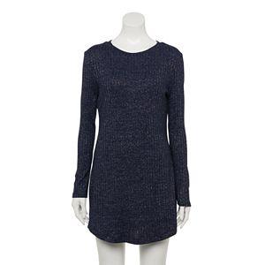Juniors' Speechless Long Sleeve Metallic Knit Bodycon Dress