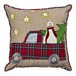 SAATVIK Plaid Holiday Truck Throw Pillow