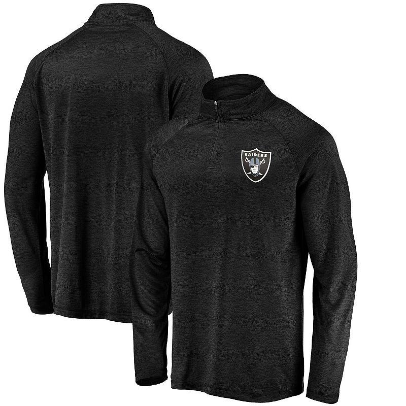 Men's Fanatics Branded Black Las Vegas Raiders Striated Primary Logo Raglan Quarter-Zip Pullover Jacket, Size: Small