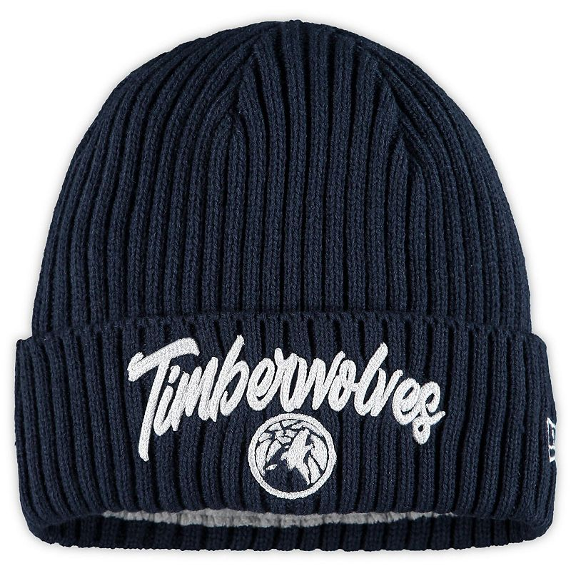 Men's New Era Navy Minnesota Timberwolves Draft On The Court Cuffed Knit Hat, Blue