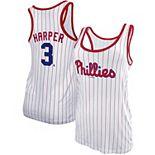 Women's New Era Bryce Harper White Philadelphia Phillies Pinstripe Name & Number Tank Top