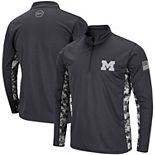 Men's Colosseum Charcoal Michigan Wolverines OHT Military Appreciation Digi Camo Quarter-Zip Jacket