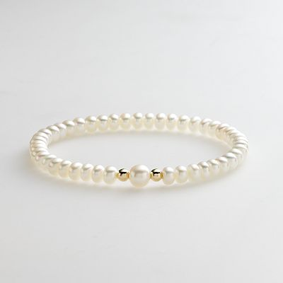 14k Gold-Over-Silver Freshwater Cultured Pearl Stretch Bracelet
