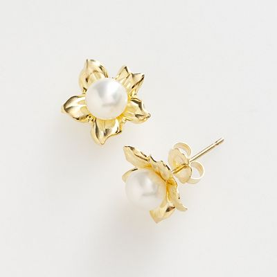 14k Gold Freshwater Cultured Pearl Flower Earrings