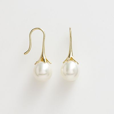 10k Gold Freshwater Cultured Pearl Flower Drop Earrings