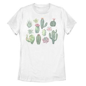 Juniors' Fifth Sun Watercolor Succulents Cactus Tee