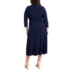 Plus Size Chaus Three Quarter Sleeve O-Zip Dress