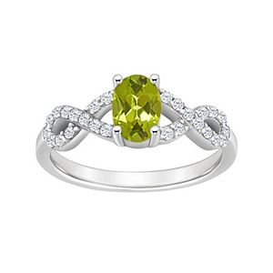 Sterling Silver Peridot & White Topaz Accent Ring