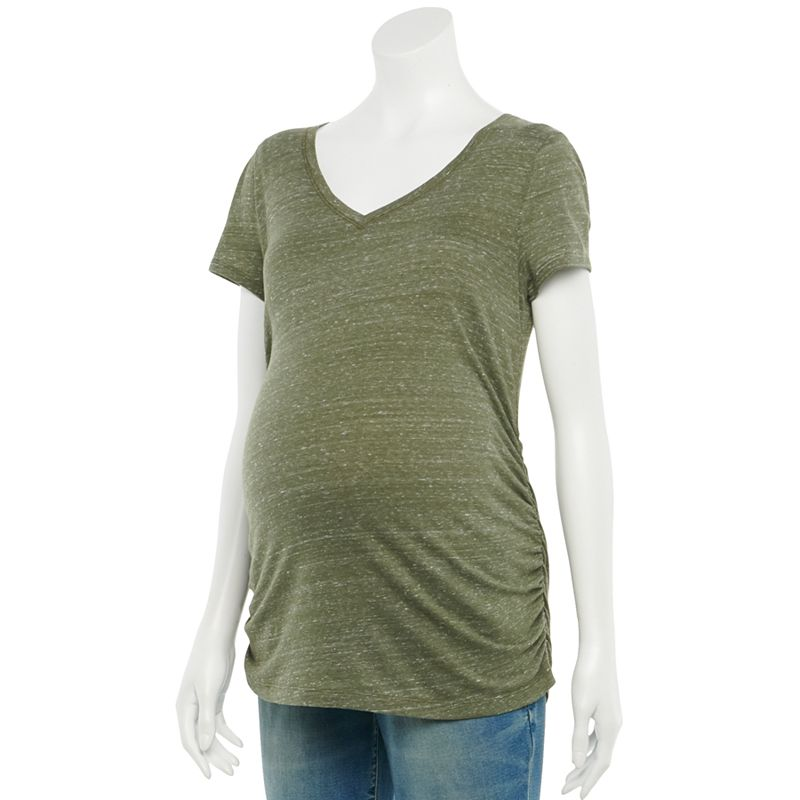 Maternity a:glow Essential Ruched V-Neck Tee, Women's, Size: XXL-MAT, Green