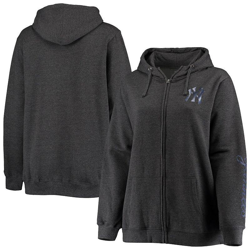 Women's Heathered Charcoal New York Yankees Plus Size Full-Zip Hoodie, Size: 1XL, Grey