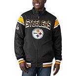 Men's G-III Sports by Carl Banks Black/Charcoal Pittsburgh Steelers Offside Reversible Full-Zip Jacket