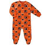 Newborn & Infant Orange Philadelphia Flyers Team Print Raglan Sleeve Full-Zip Jumper Pajamas