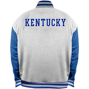Men's White/Royal Kentucky Wildcats Big & Tall Varsity Satin Full-Snap Jacket