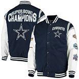 Men's G-III Sports by Carl Banks Navy/White Dallas Cowboys Goal Post Varsity Full-Snap Jacket