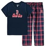 Women's Concepts Sport Navy Boston Red Sox Plus Size T-Shirt and Flannel Pants Sleep Set