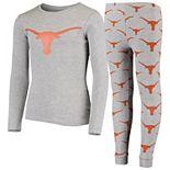 Youth Gray Texas Longhorns Long Sleeve T-Shirt and Pants Sleep Set