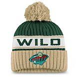 Women's Fanatics Branded Green/Cream Minnesota Wild Authentic Pro Locker Room Cuffed Knit Hat with Pom