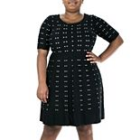 Plus Size Nina Leonard Jacquard A-Line Sweater Dress