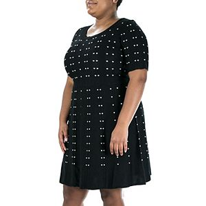 Plus Size Nina Leonard Jacquard A-Line Sweater Dress