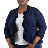 Plus Size Nina Leonard Simulated Pearl Back Bolero Cardigan