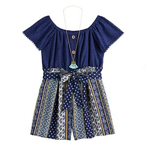 Girls 7-16 Knit Works Romper with Necklace in Regular & Plus Size
