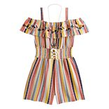 Girls 7-20 Knit Works Striped Romper with Necklace in Regular & Plus Size