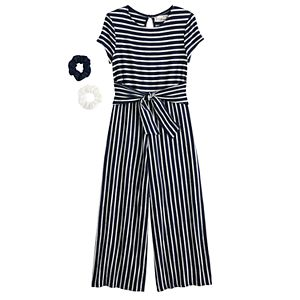 Girls 7-16 Knit Works Belted Jumpsuit with Scrunchie in Regular & Plus Size