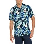 Men's Cubavera Tropical Leaf Print Button-Down Shirt