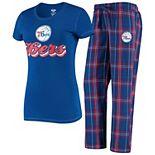 Women's Concepts Sport Royal/Red Philadelphia 76ers Ethos T-Shirt & Pants Sleep Set