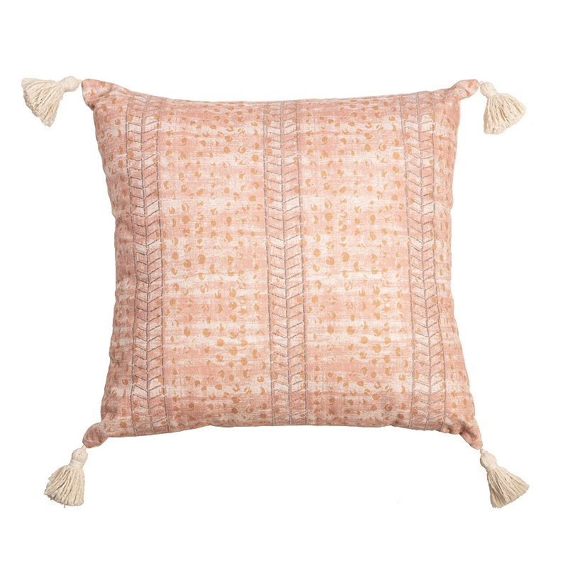 Arden Selections Bold Blush Texture with Embroidery & Tassels Throw Pillow, Pink, 20X20