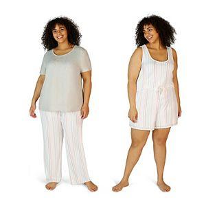 Plus Size Eddie Bauer 4-pc. Pajama Top, Pajama Cami, Pajama Pants & Pajama Shorts Set