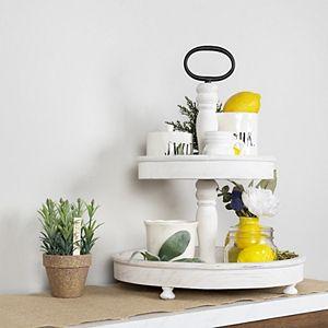 Stratton Home Decor Two Tier White Wash Decorative Tray Table Decor