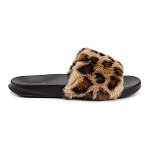 sugar Wuzz Women's Fuzzy Slide Sandals