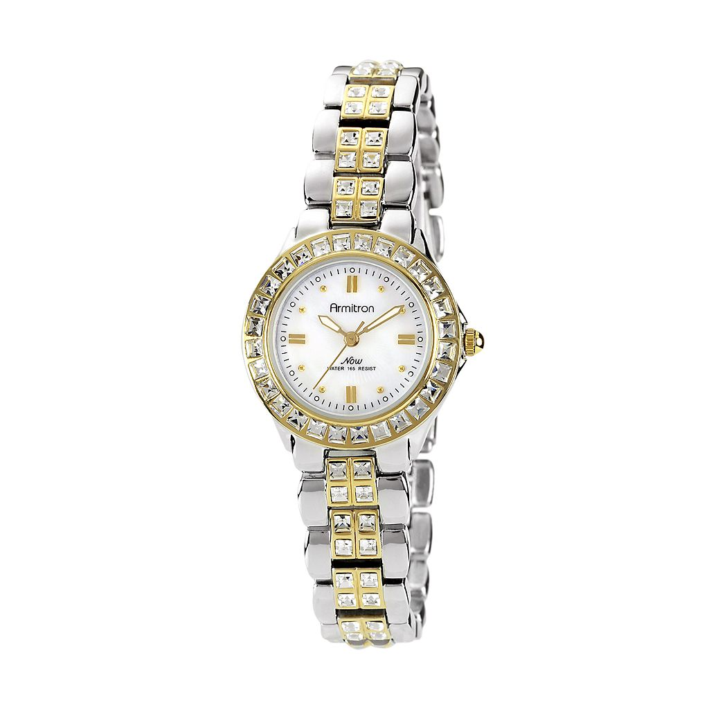 Armitron NOW Women's Crystal Two Tone Stainless Steel Watch - 75/3689MPTT